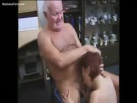 Grandpa getting head from his redhead granddaughter