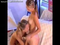 Cute barely legal sisters toy fucking each other