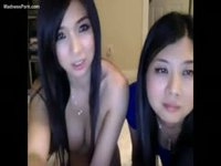 Girlfriend helping her friend during nude cam show