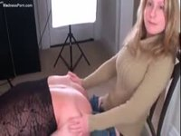Tiny blonde wife wearing jeans pegging a guy from behind