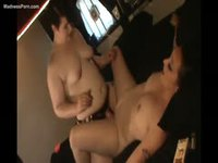 Short haired BBW fucks her girlfriend with a strap-on