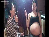 Smoking fetish featuring an amateur pregnant woman