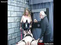 BBW and old dude abuse a tied up whore