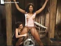 Ebony teen girl in bdsm having her pussy pleasured