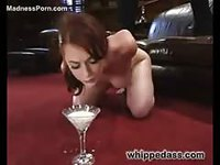 Forced to drink milk while being spanked