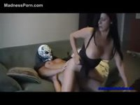Kinky MILF has sex with masked son
