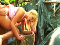 Blonde virgin babe fucking in the woods