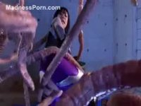 Tentacule monster abusing and using a young Asian amateur