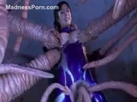 Stunning Asian cougar with juicy tits violated by the tentacles of tentacle monster