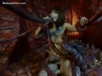 Asian babes ravaged by tentacle monster