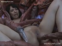 Eighteen year old asian amateur hottie screwed by tentacle monster