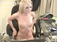 Beautiful short haired amateur webcam girl exposing her perfect real tits and tight ass