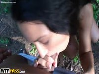 Young teen newcomer getting fucked outdoors before her facial