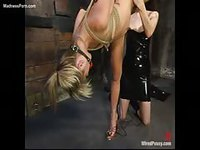 Submissive pretty blonde cougar bound with her legs open