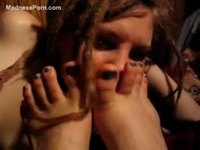 Sensual foot fetish play between a pair of young teen girls