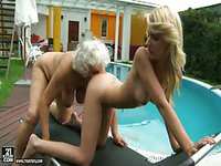 Busty blonde finds pleasure with a granny lesbo
