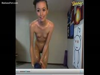Flawless all natural skinny eighteen year old coating her nude body with baby oil