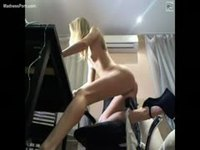 Skinny teen bending over on cam