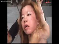 Skinny asian amateur woman choked and abused while she hangs in restraints