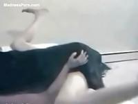 Slutty teen wraps her legs around an animal for a fucking