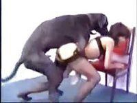 Enormous dog using a tight bodied amateur housewife in this beastiality movie