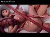 Huge boobs babe got fucked by a tentacle monster