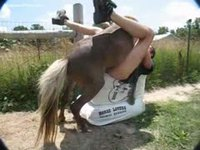 Middle-aged guy that works on a farm enjoying an anal screwing from a horse