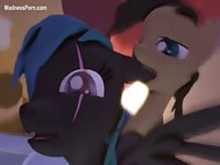 Well endowed cartoon stud fucking a black horse from behind