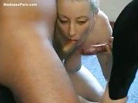 Filthy blonde cougar on her knees blowing man and beast for cum