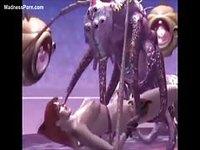 Wild tentacle monster screwing an unsuspecting cartoon tramp