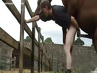 Excellent outdoor zoo sex video featuring a skinny dude fucked by a horse