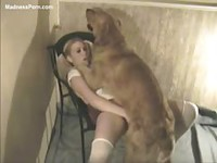 Young blonde amateur girl fucked well and creampied by her boyfriends large dog