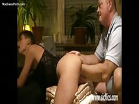 Deep anal fisting in this homemade video that features a brunette amateur and an older dude