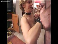 Handcuffed amateur granny has her pussy lips and nippled strateched then sucks dick