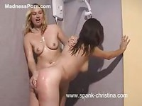 Spanking session in the shower with two amateur college aged hotties