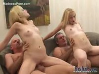 Twin sisters fuck rich guys for money