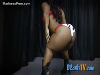 Ebony midget dancing and teasing in little panties and a small bra