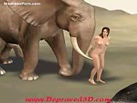 Creative animal sex adventure featuring a cartoon slut fucked hard by an elephant