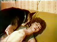 Classic animal sex video featuring an all natural married woman