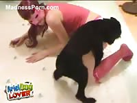 Shy young amateur teen exchanges oral favors with an animal