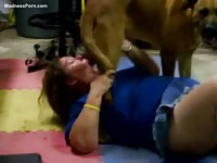 Fat German female savagely gives head to her new doggy