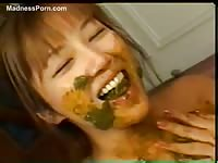 Extreme fetishes in this scat soup eating and bloody pussy video featuring Asian teen