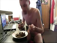 Dude sits down for a healthy scat dinner after exposing himself and shitting on a plate
