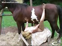 Fit blonde never before seen MILF gets horny and spreads thighs for beastiality sex with horse