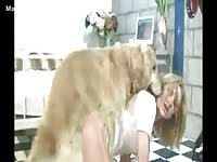 Kinky blonde married woman pleases her husband's beastiality cravings and bangs their dog