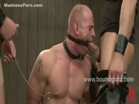 Obedient twink cheats on his wife as he's used by many men while helpless in BDSM restraints