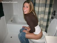 Fun collection of drunk college whores sitting on the toilet and having a great time on camera