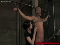 Shaved head sexy college girl makes her BDSM video debut as she's tied and teased by DOM