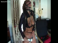 Bodacious amateur wife pleasures her cunt while in BDSM attire