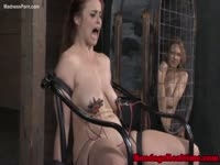 Redhead never before seen girl tries not to cry as she's helpless in BDSM restraints and beat